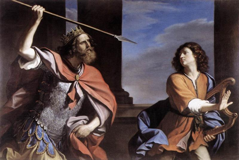 David once said God delivered me from the Lion and the Bear Saul and David by Guercino